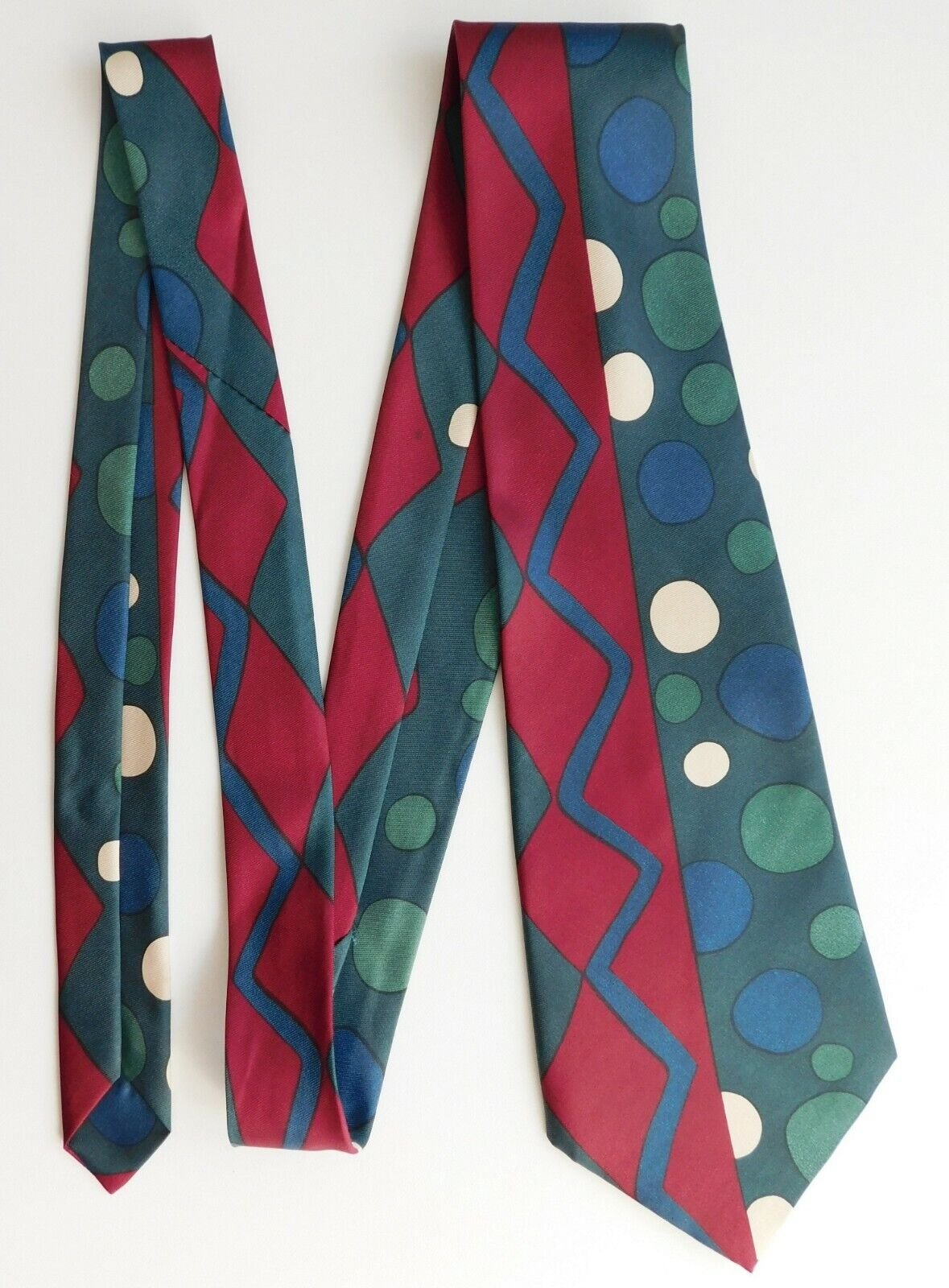 Modern colourful mens tie spots and zigzag pattern