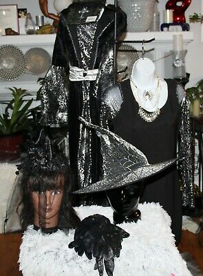 Mother Daughter Witch Costumes (LOT 2 MOTHER/DAUGHTER BLK/SLV  SPIDERWEB WITCH COSTUMES/CHILD:M 8/10-ADULT S)