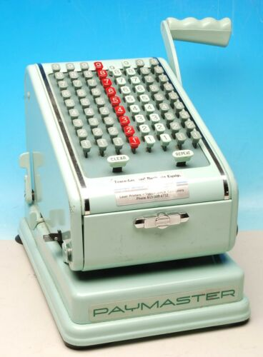 VINTAGE GREEN PAYMASTER SERIES 700 KEYBOARD PAYMASTER CHECK WRITER MACHINE