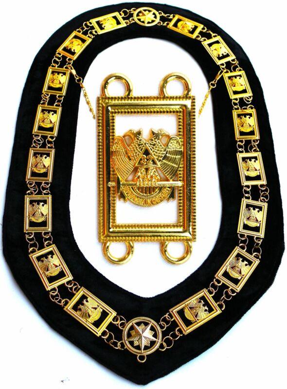 MASONIC REGALIA 32 DEGREE WING DOWN SCOTTISH RITE METAL GOLDEN CHAIN COLLAR
