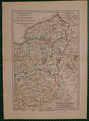 1790 DATED RIGOBERT BONNE MAP ~ DEPARTMENTS AND DISTRICTS OF NORMANDY AND MAINE