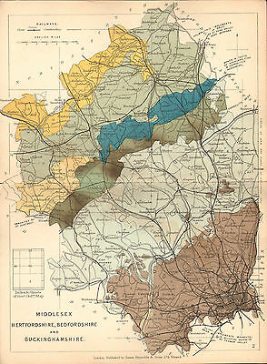 1889 HAND COLOURED GEOLOGICAL MAP ~ MIDDLESEX BEFORSHIRE BUCKS BEDFORSHIRE