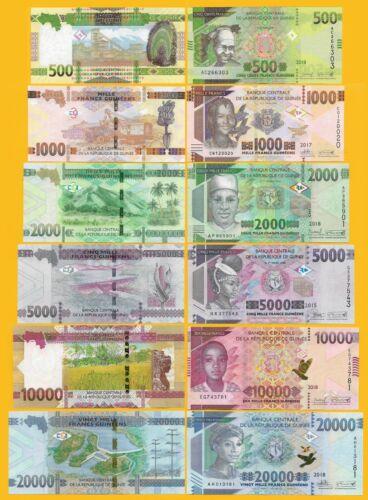 Guinea Set 500, 1000, 2000, 5000, 10000, 20000 Francs 2015-2018 UNC Banknotes