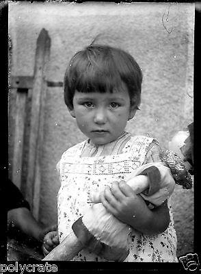 Kleines Mädchen und Ihre Puppe - Negativ Foto Gläser Foto - An. 1910 20