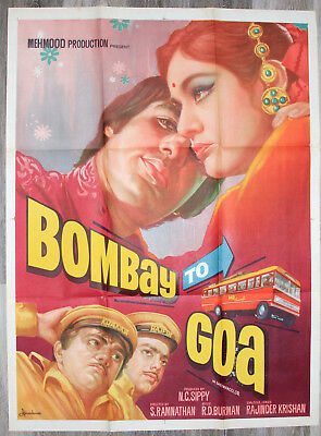 BOMBAY TO GOA Original 1972 Indian Film Poster Mehmood Aruna Irani