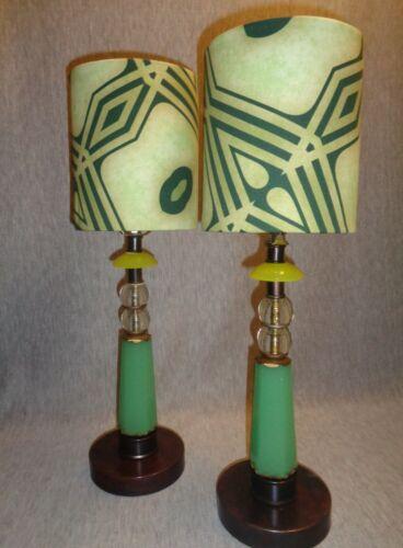 """Prairie School"" Vintage Jadeite Glass Art Deco Lamps"