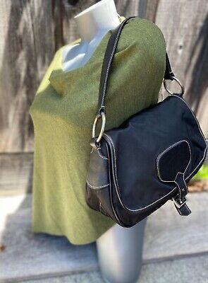 PRADA VINTAGE Tessuto NYLON Flap Top BLACK Leather Trim Satchel Authentic! #50