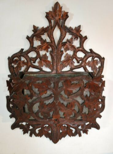 Antique Victorian Black Forest Carved Wood Letter Mail Plant Holder Wall Pocket