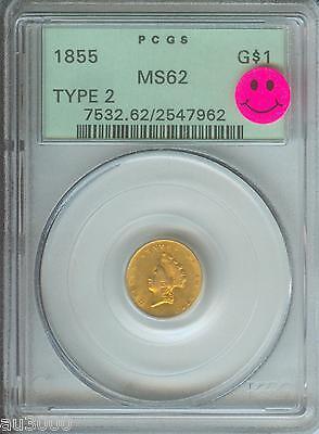 1855 TYPE 2 $1 GOLD DOLLAR PCGS G$1 MS62 PREMIUM QUALITY PQ + OLD GREEN HOLDER !