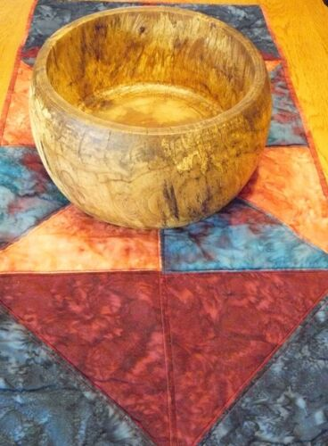 "Wood Bowl Hand Turned Elm W/Table Runner  Art, Office Decor, 5.2"" H X 11""D Elm1"