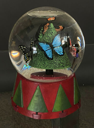 Vintage Neiman Marcus Christmas 1999 Butterfly Musical Snow Globe, Dept 56