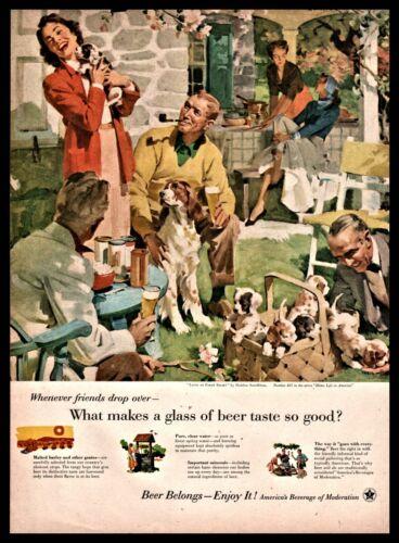 1955 ENGLISH SPRINGER SPANIEL w/ litter of puppies Beer Belong AD Sundblom Art