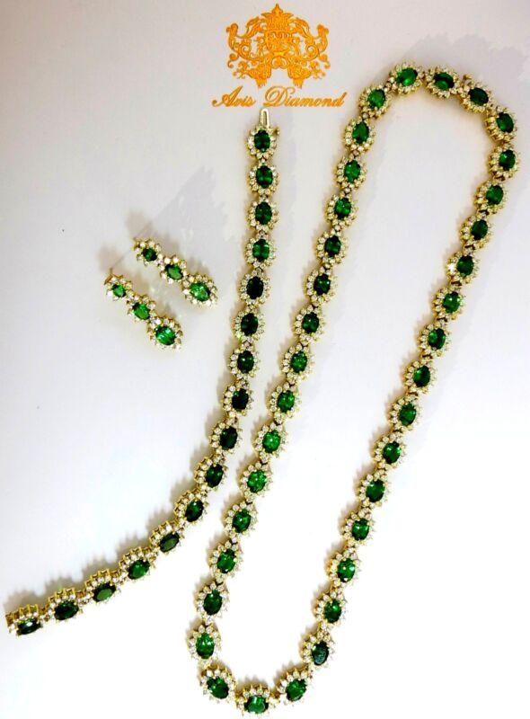 Magnificent 70.72ct Natural Tsavorites Diamond Bracelet Earrings Necklace Suite+