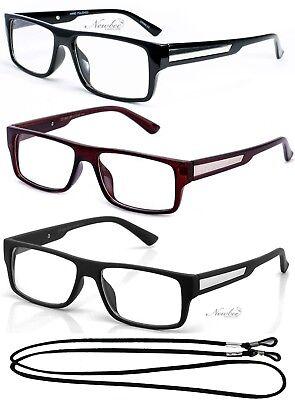 Mens Fashion Rectangular Reading Glasses Retro Readers Metal Plate Modern (Fashionable Mens Reading Glasses)