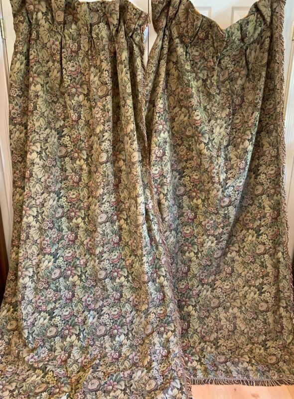 Antique 19C Fine French Jacquard Tapestry Silk Drapes Original Brass Rings
