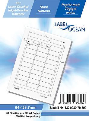 Klebeetiketten DIN A4 weiß 64x26,7mm (Laser Inkjet Kopierer) 500 Blatt