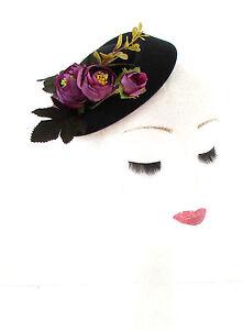 Black Purple Ranunculus Flower Pillbox Hat Fascinator Vtg Races 1940s 50s 519