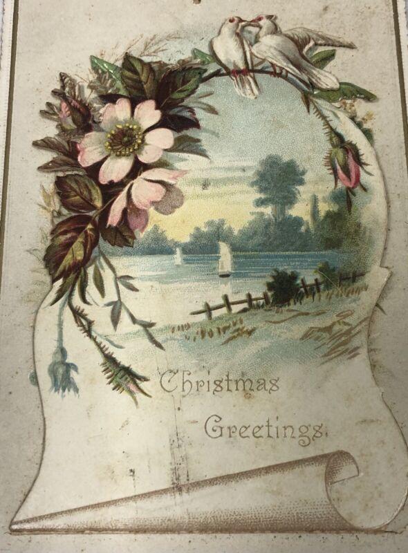 Antique Vintage Victorian Three Dimensional Christmas Card Nativity