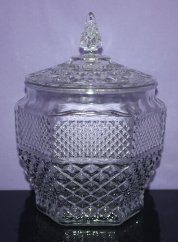 Vintage Clear Glass Cookie Jar & Lid ~ Wexford by Anchor Hocking ~ EUC