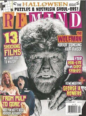 Remind Magazine October 2017 Halloween Issue Wolfman George Romero Pulp to Gore](Celebrity 2017 Halloween)