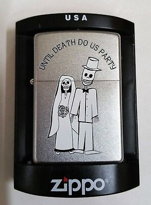 Zippo Lighter Gothic Skeleton Until Death Do Us Party Bride & Groom 2007 New