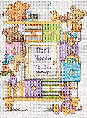 Cross Stitch Kit ~ Dimensions Animals & Drawers Baby Birth Record