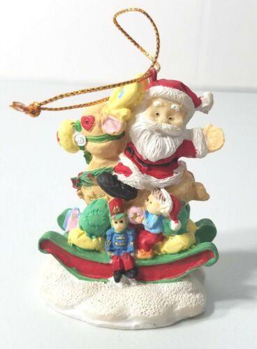 Santa & Rocking Horse Christmas Tree Holiday Ornament with Toys