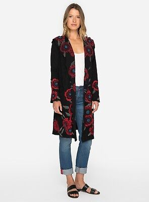 Johnny Was Leona Black Long Hoodie Embroidered  Jacket  B50117  New Boho Chic