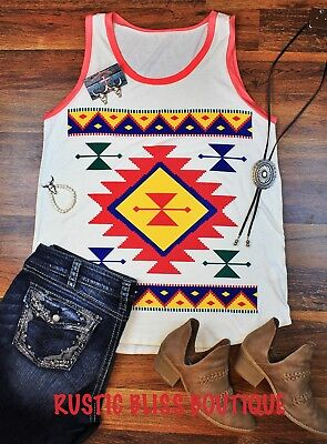 New Aztec Print Tank Plus Size Western Style Top Cowgirl Rodeo Tribal Print - Plus Size Cowgirl