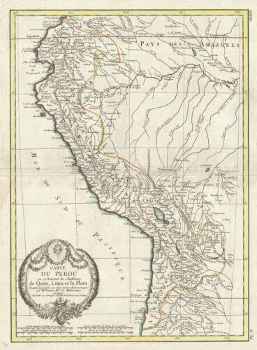 1778 Bonne Map of Peru, Ecuador, Bolivia, and the Western Amazon