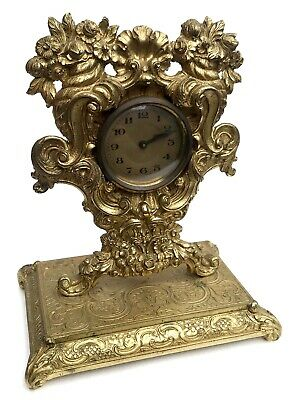 Lovely Antique German Ormolu Strut / Easel Mantel Clock