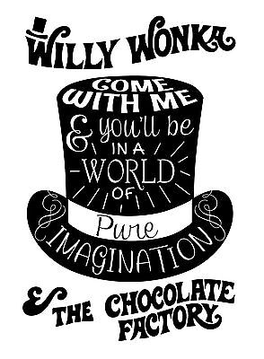 Willy Wonka's Pure Imagination Typography quote Decorative Vinyl Wall Sticker