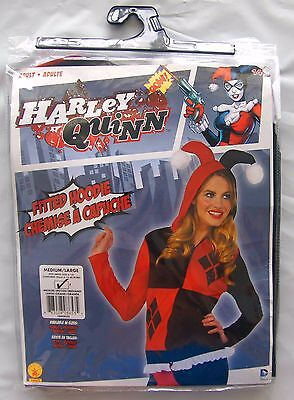 Adult DC Comics Harley Quinn Fitted Hoodie Costume Medium Large 6-14 Halloween  (Large Harley Quinn Costume)