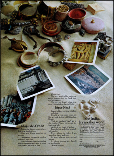 1972 India Government Tourist Office Jaipur Khajuraho retro photo print ad S22