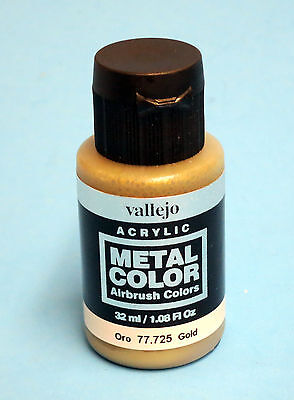 Vallejo Acrylic GOLD METAL COLOR 77.725 Airbrush Hobby Model Colors 32ml NEW