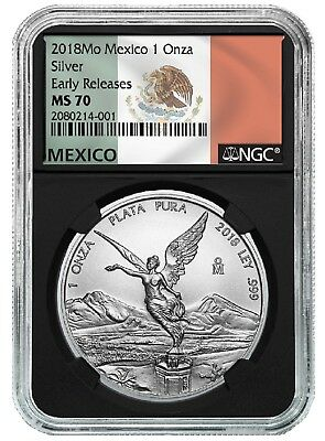 2018 Mexico 1oz Silver Libertad NGC MS70 ER - Black Core - Flag Label
