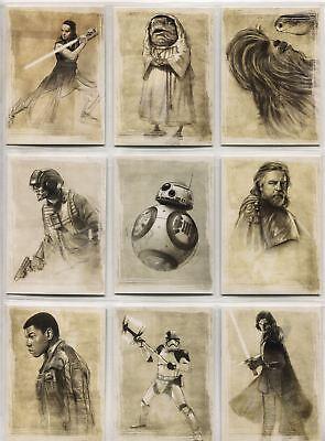 Star Wars Last Jedi Complete Illustrated Chase Card Set SWI1-11