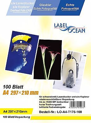 100 A4 sheets OHP Acetate film laser jet and copier printers B/W only