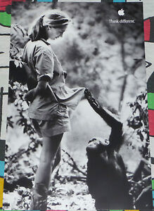 APPLE THINK DIFFERENT ORIGINAL POSTER JANE GOODALL APPROX. 17X11