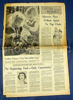 Vintage Charlotte Observer Newspaper Section E For   About Woman April 6 1958