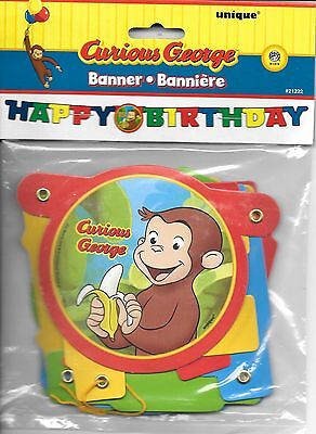 Curious George Monkey Happy Birthday Banner Party Decoration - New In Package - Curious George Birthday Banner