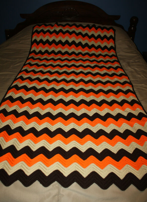 "Crochetted Brown Orange Beige Ripple Afghan Throw Blanket 73"" x 38"""