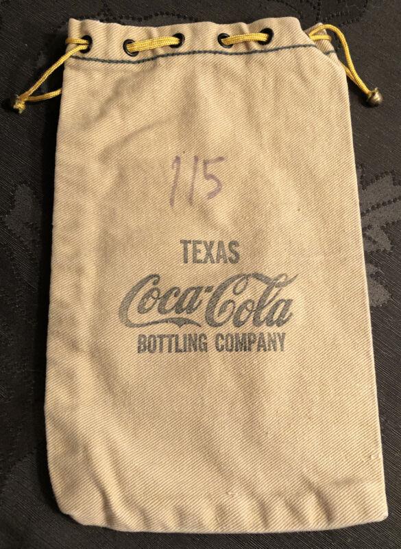 Rare Vintage Texas Coca Cola Bottling Company Canvas Money Cash Deposit Bag #115
