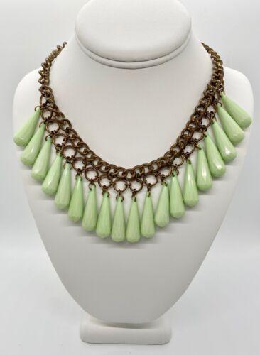 "Pastel Green Tear Drops - Copper Tone - CHIC STATEMENT Choker Necklace 18"""