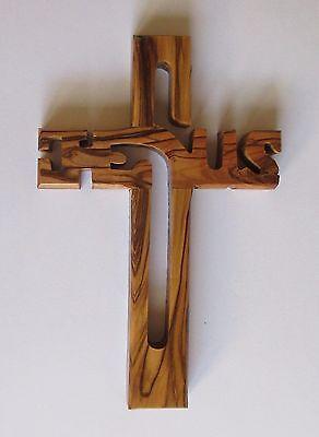 Kreuz, Holzkreuz, Wandkreuz a. Olivenholz, geschnitzt in Bethlehem, 16 cm
