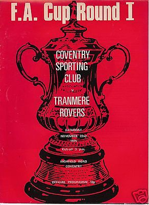 COVENTRY SPORTING CLUB V TRANMERE ROVERS     FA CUP    22/11/75