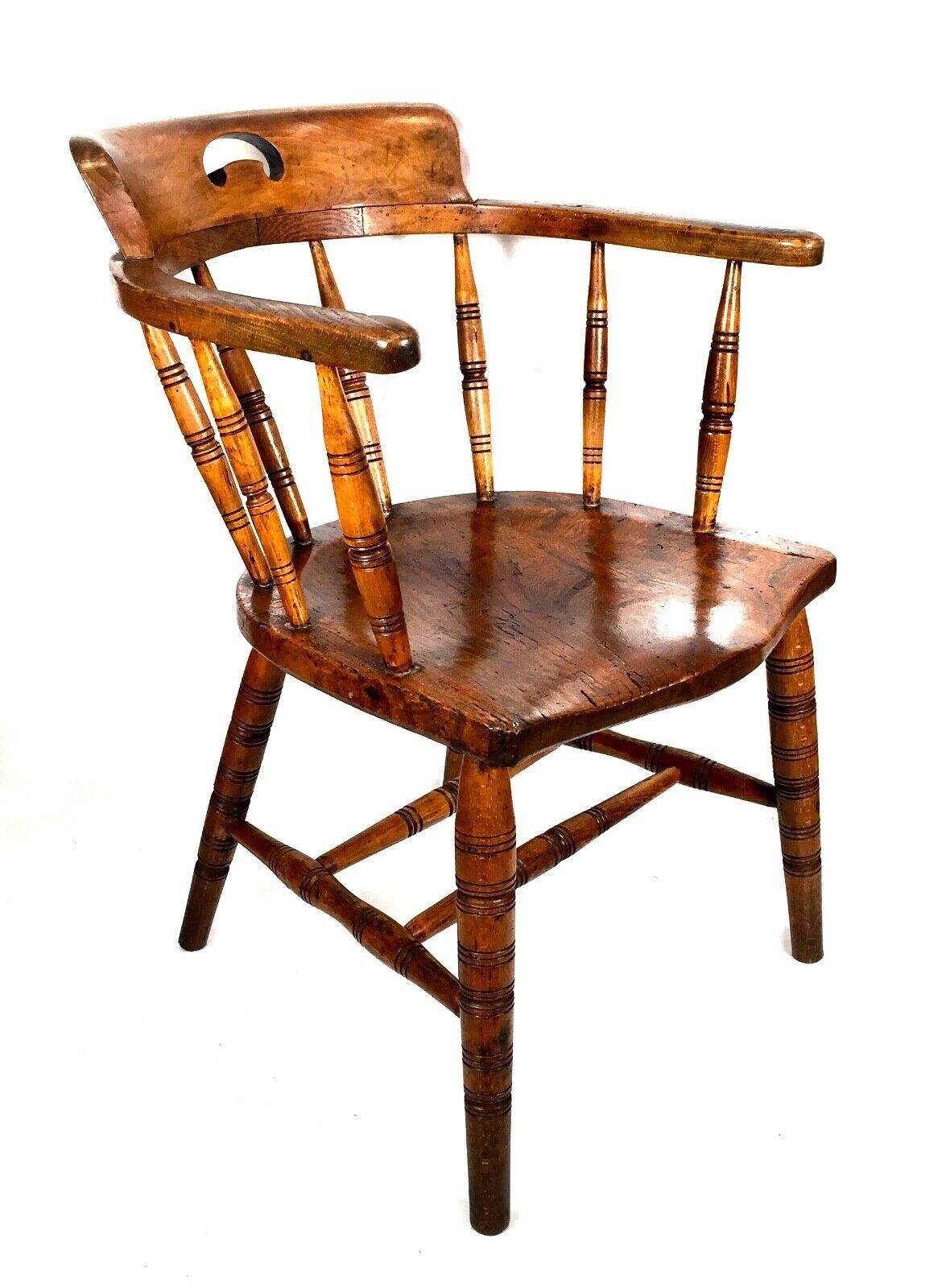 Antique Captain's Elm Bow Seat Smokers Chair / Desk Seat / Armchair c.1850