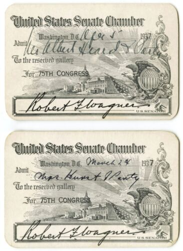 1937 US Senate 75th Congress 2 Chamber Passes Signed by Senator Robert F. Wagner