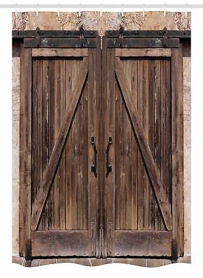 "Rustic Stall Shower Curtain Wooden Barn Door Image Print for Bathroom 54""x78"""