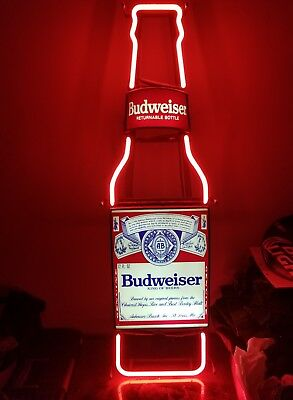 VTG BUDWEISER NEON SIGNS DALE JR #8 CAR POOL TABLE LIGHT BEER BOTTLE MAN CAVE!!! for sale  Pasadena